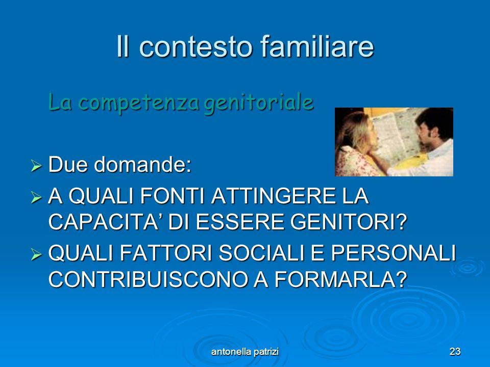 Il contesto familiare La competenza genitoriale Due domande: