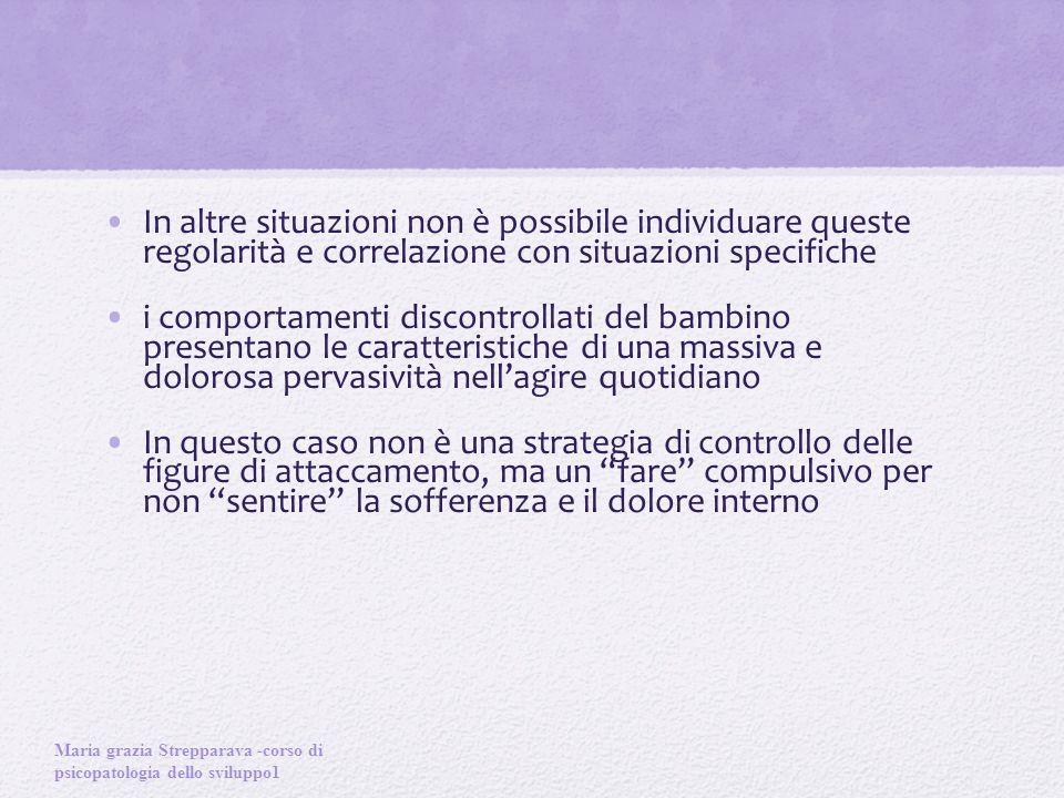 In altre situazioni non è possibile individuare queste regolarità e correlazione con situazioni specifiche