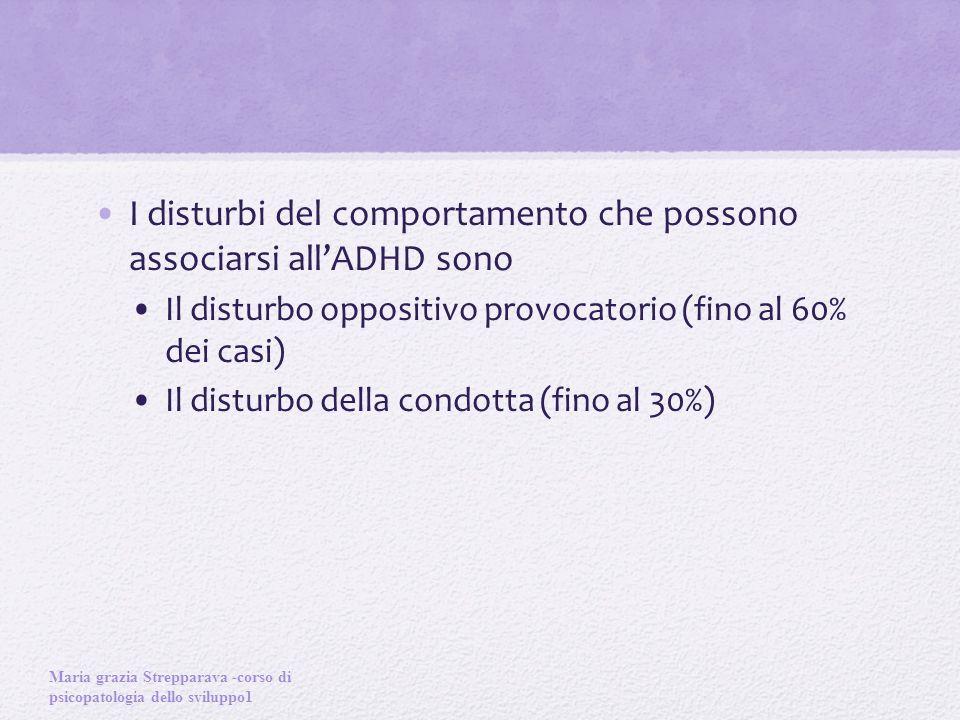 I disturbi del comportamento che possono associarsi all'ADHD sono