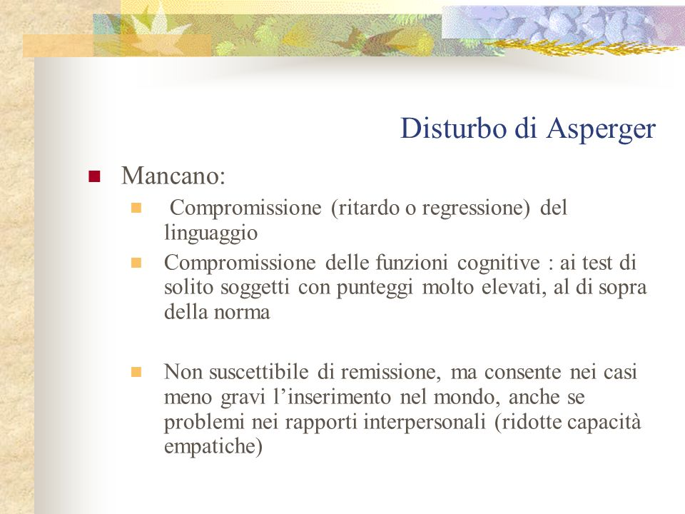 Disturbo di Asperger Mancano: