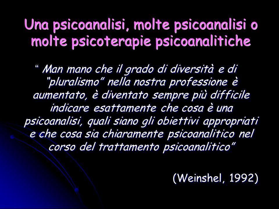 Una psicoanalisi, molte psicoanalisi o molte psicoterapie psicoanalitiche