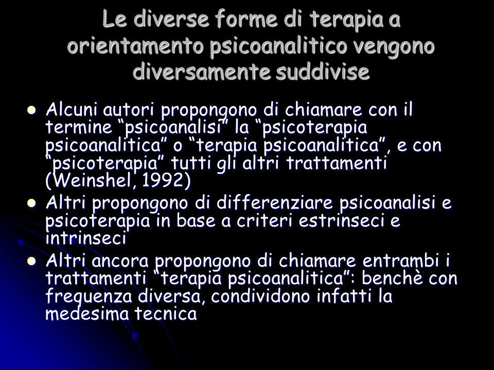 Le diverse forme di terapia a orientamento psicoanalitico vengono diversamente suddivise