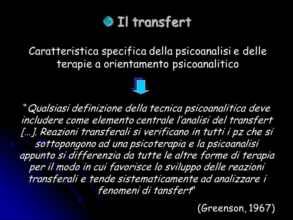 Il transfert Caratteristica specifica della psicoanalisi e delle terapie a orientamento psicoanalitico.