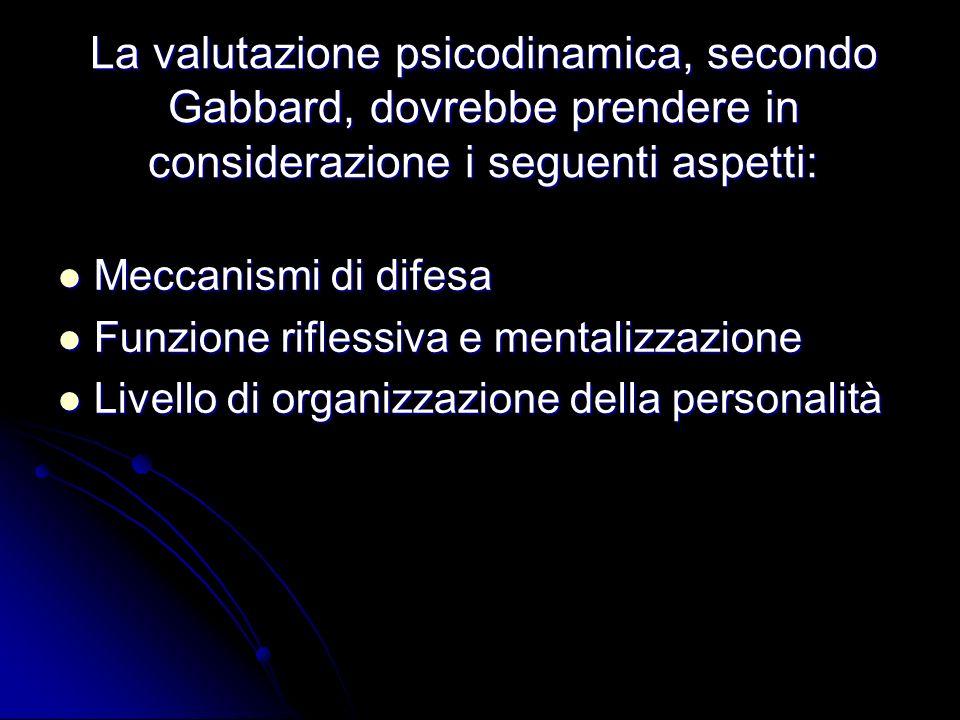 La valutazione psicodinamica, secondo Gabbard, dovrebbe prendere in considerazione i seguenti aspetti:
