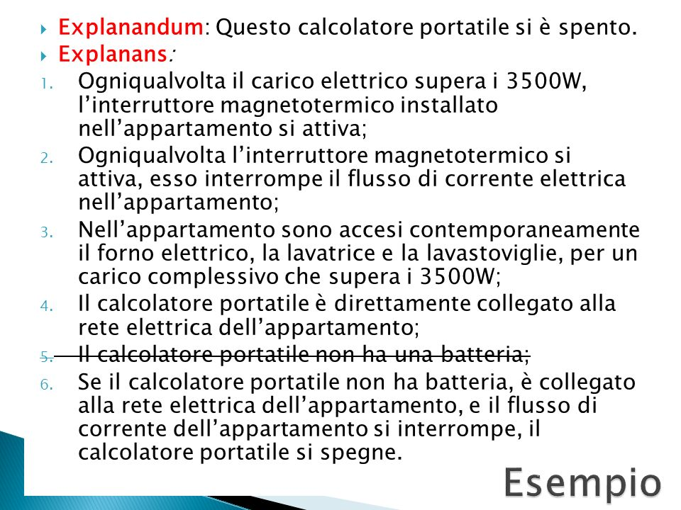 Esempio Explanandum: Questo calcolatore portatile si è spento.