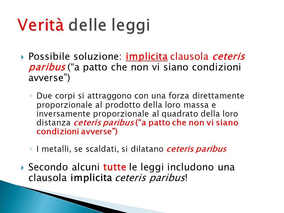 Verità delle leggi Possibile soluzione: implicita clausola ceteris paribus ( a patto che non vi siano condizioni avverse )