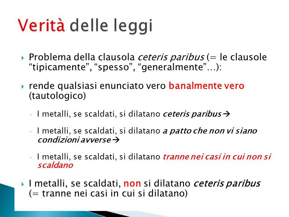 Verità delle leggi Problema della clausola ceteris paribus (= le clausole tipicamente , spesso , generalmente …):