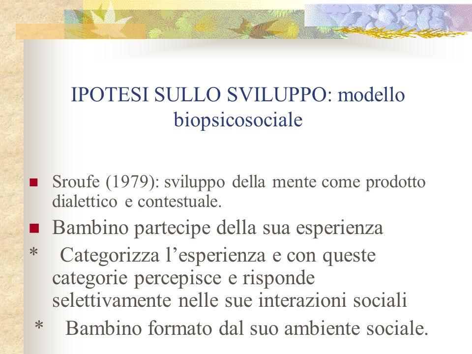 IPOTESI SULLO SVILUPPO: modello biopsicosociale