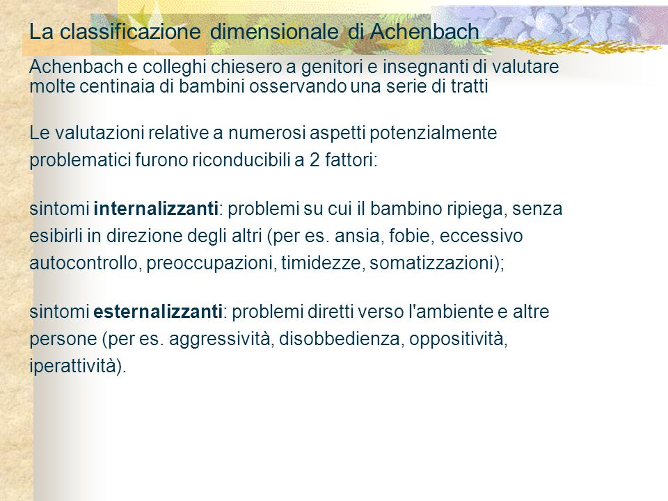 La classificazione dimensionale di Achenbach