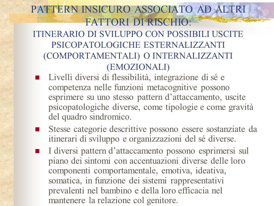 PATTERN INSICURO ASSOCIATO AD ALTRI FATTORI DI RISCHIO: ITINERARIO DI SVILUPPO CON POSSIBILI USCITE PSICOPATOLOGICHE ESTERNALIZZANTI (COMPORTAMENTALI) O INTERNALIZZANTI (EMOZIONALI)