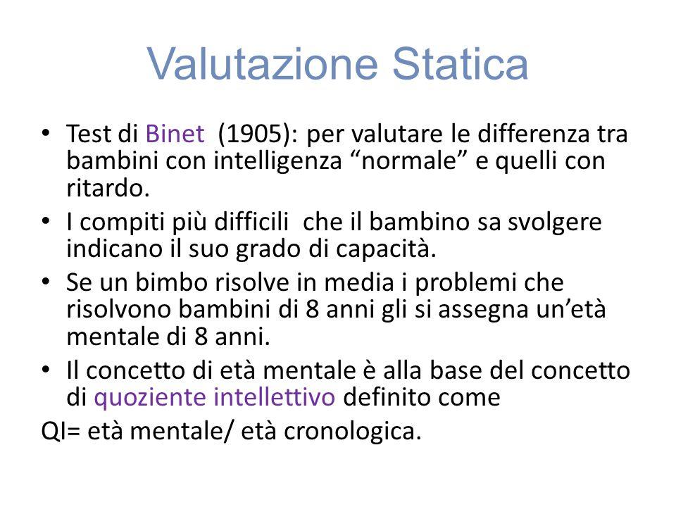 Valutazione Statica Test di Binet (1905): per valutare le differenza tra bambini con intelligenza normale e quelli con ritardo.