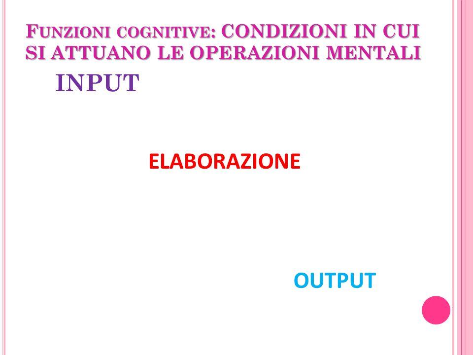 Funzioni cognitive: CONDIZIONI IN CUI SI ATTUANO LE OPERAZIONI MENTALI