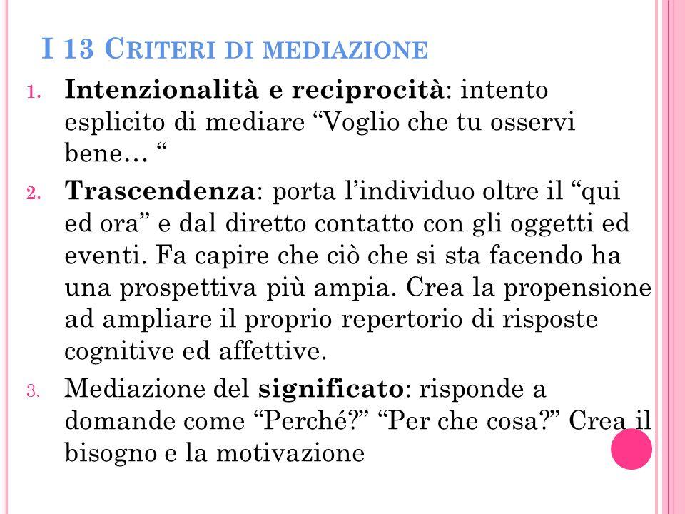 I 13 Criteri di mediazione