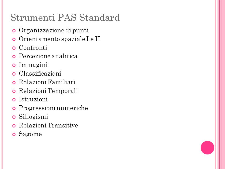 Strumenti PAS Standard
