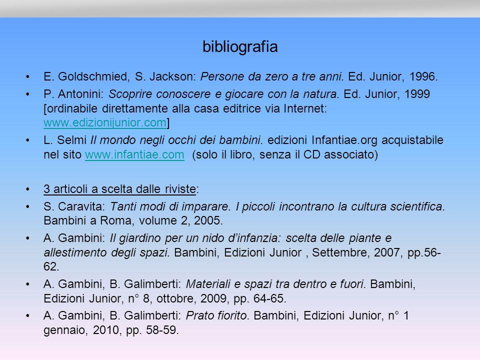 bibliografia E. Goldschmied, S. Jackson: Persone da zero a tre anni. Ed. Junior, 1996.