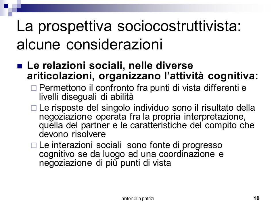 La prospettiva sociocostruttivista: alcune considerazioni