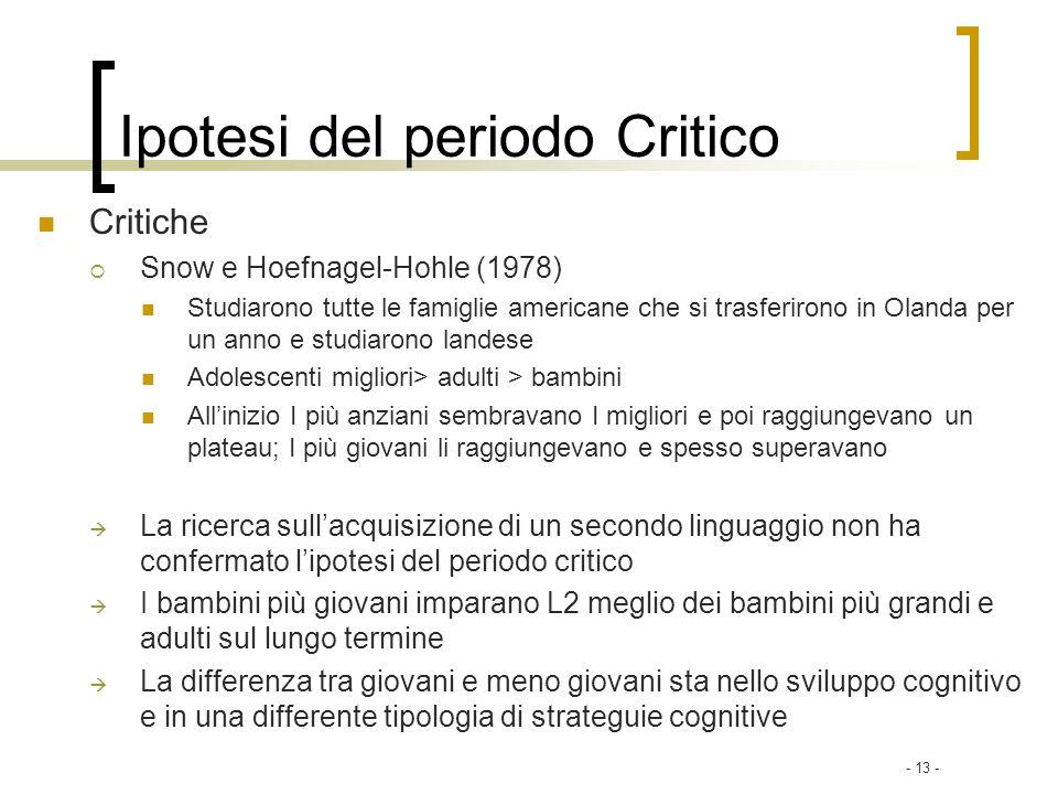 Ipotesi del periodo Critico