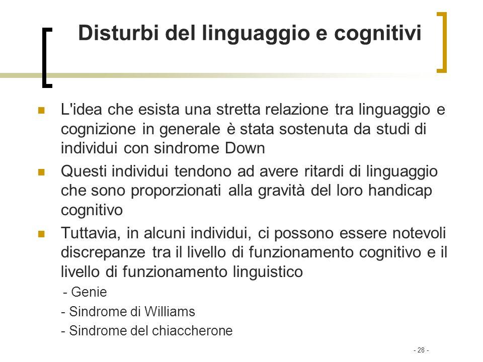Disturbi del linguaggio e cognitivi