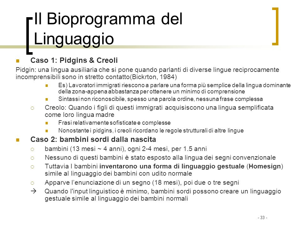 Il Bioprogramma del Linguaggio