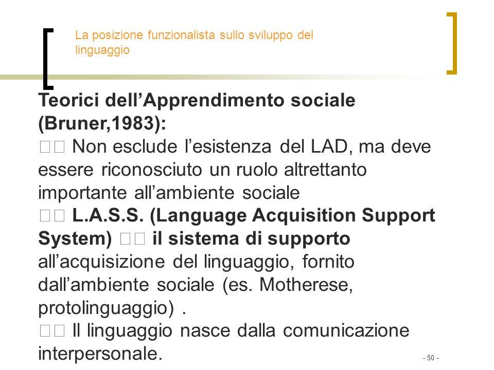 Teorici dell'Apprendimento sociale (Bruner,1983):