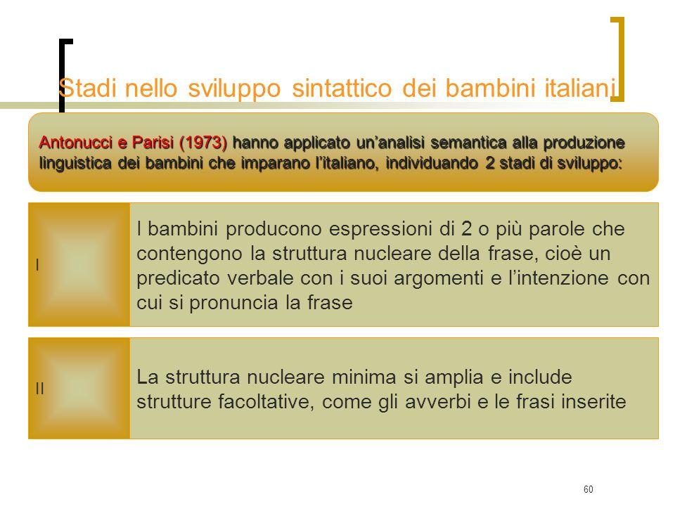 Stadi nello sviluppo sintattico dei bambini italiani