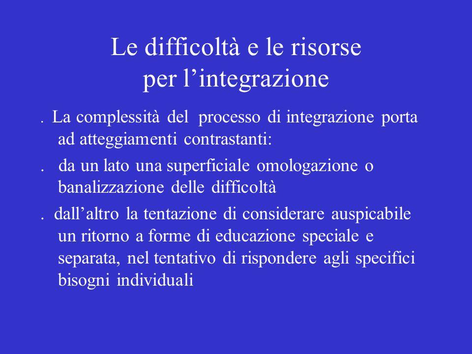 Le difficoltà e le risorse per l'integrazione