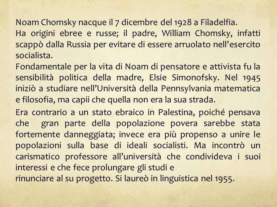 Noam Chomsky nacque il 7 dicembre del 1928 a Filadelfia.