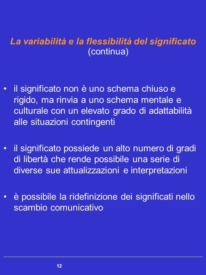 La variabilità e la flessibilità del significato (continua)