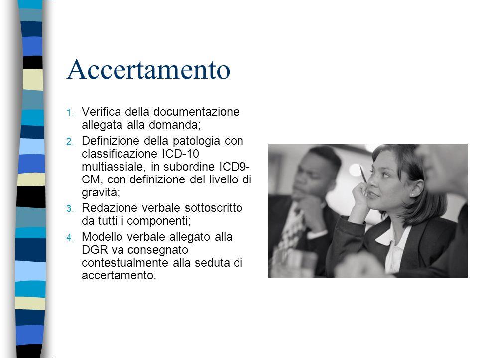 Accertamento Verifica della documentazione allegata alla domanda;