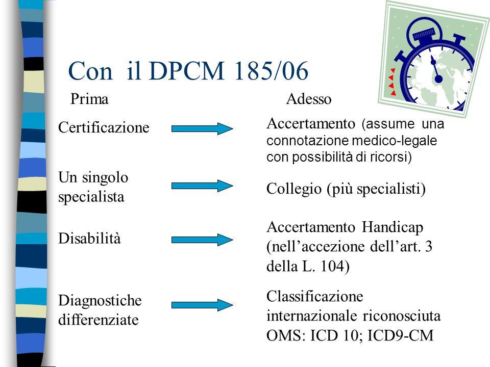 Con il DPCM 185/06 Prima Adesso