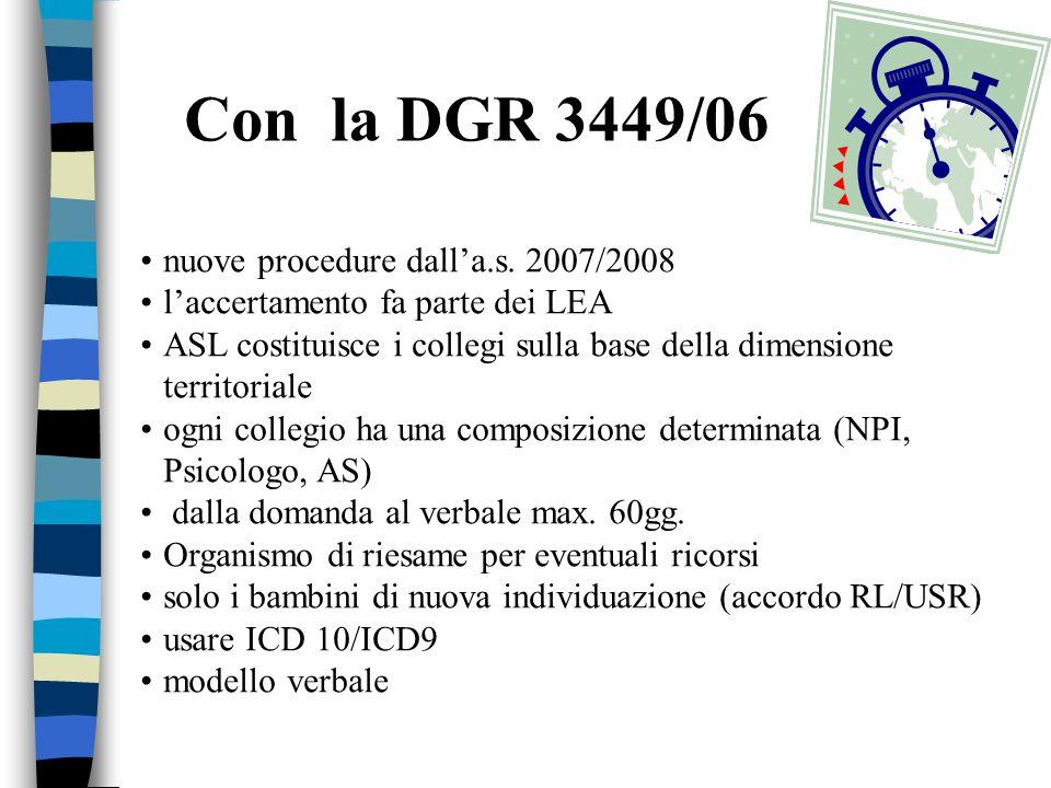 Con la DGR 3449/06 nuove procedure dall'a.s. 2007/2008