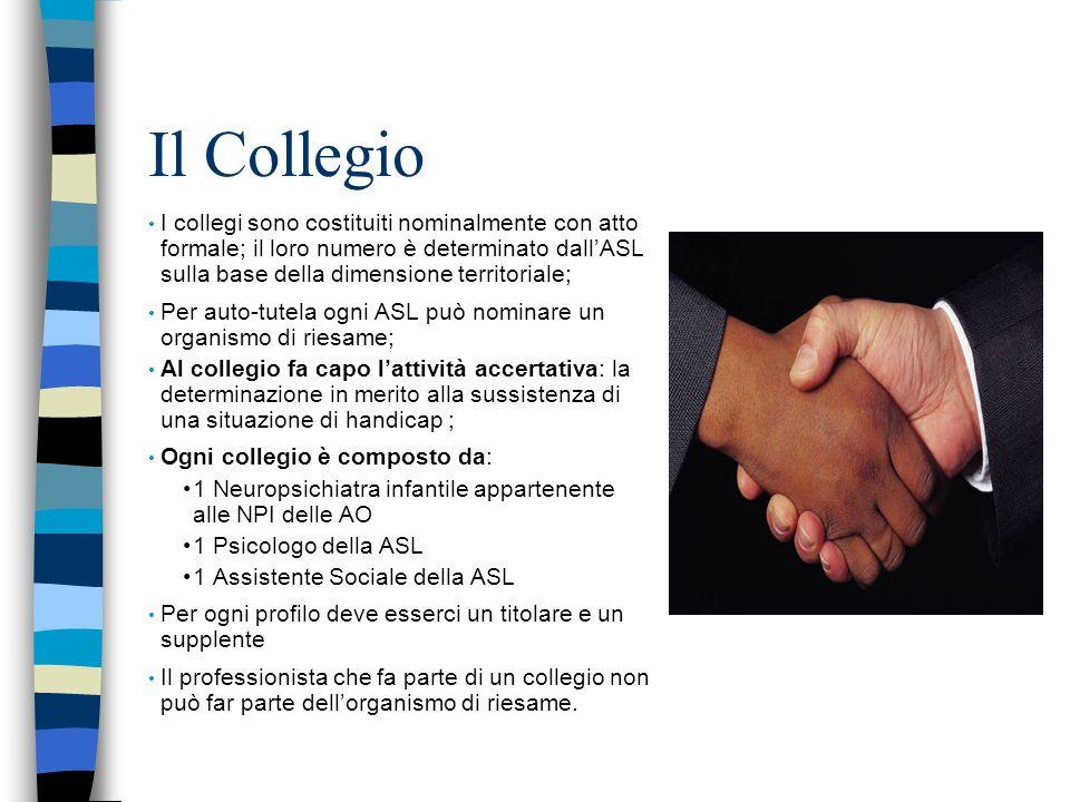 Il Collegio I collegi sono costituiti nominalmente con atto formale; il loro numero è determinato dall'ASL sulla base della dimensione territoriale;