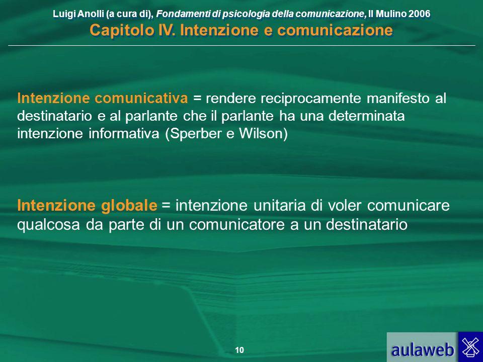 Intenzione comunicativa = rendere reciprocamente manifesto al destinatario e al parlante che il parlante ha una determinata intenzione informativa (Sperber e Wilson)