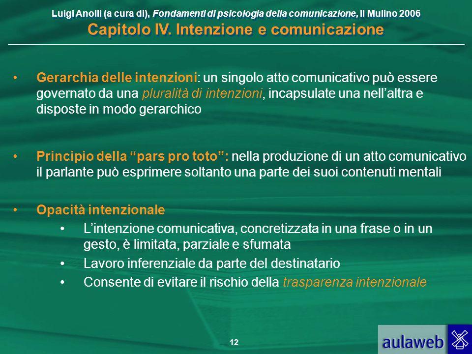 Gerarchia delle intenzioni: un singolo atto comunicativo può essere governato da una pluralità di intenzioni, incapsulate una nell'altra e disposte in modo gerarchico