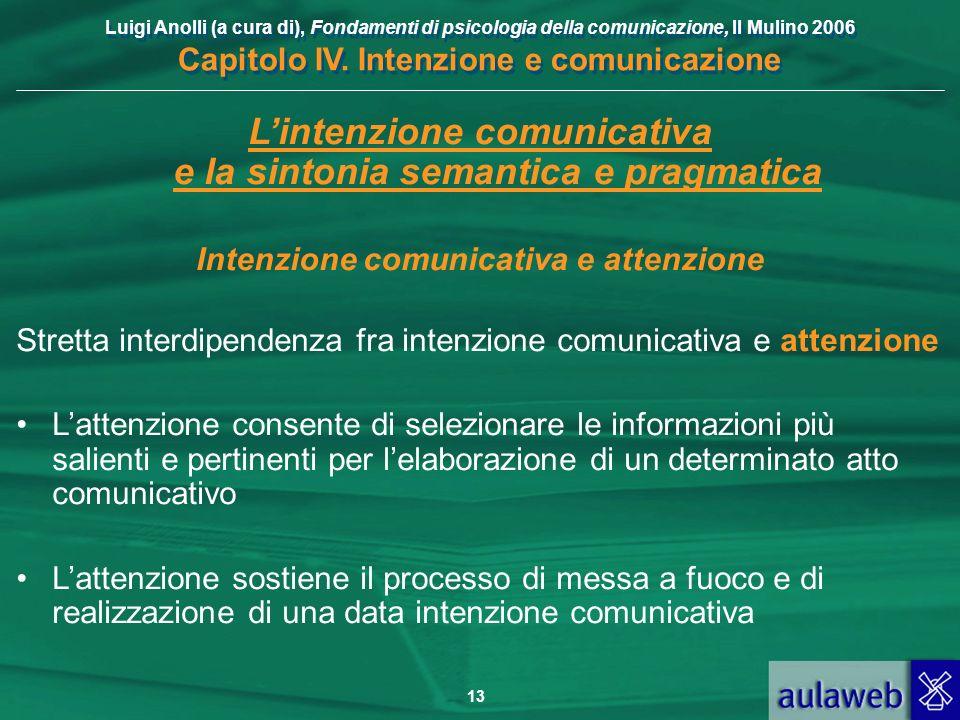L'intenzione comunicativa e la sintonia semantica e pragmatica