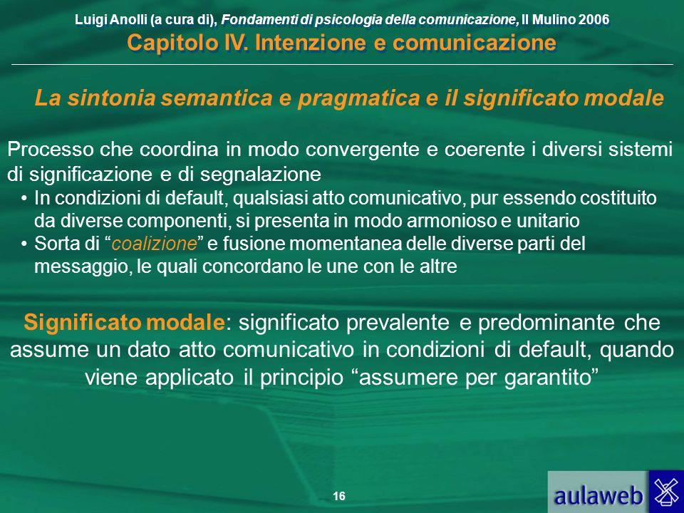 La sintonia semantica e pragmatica e il significato modale