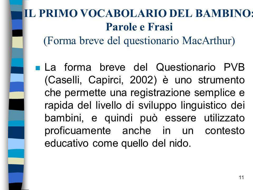 IL PRIMO VOCABOLARIO DEL BAMBINO: Parole e Frasi (Forma breve del questionario MacArthur)