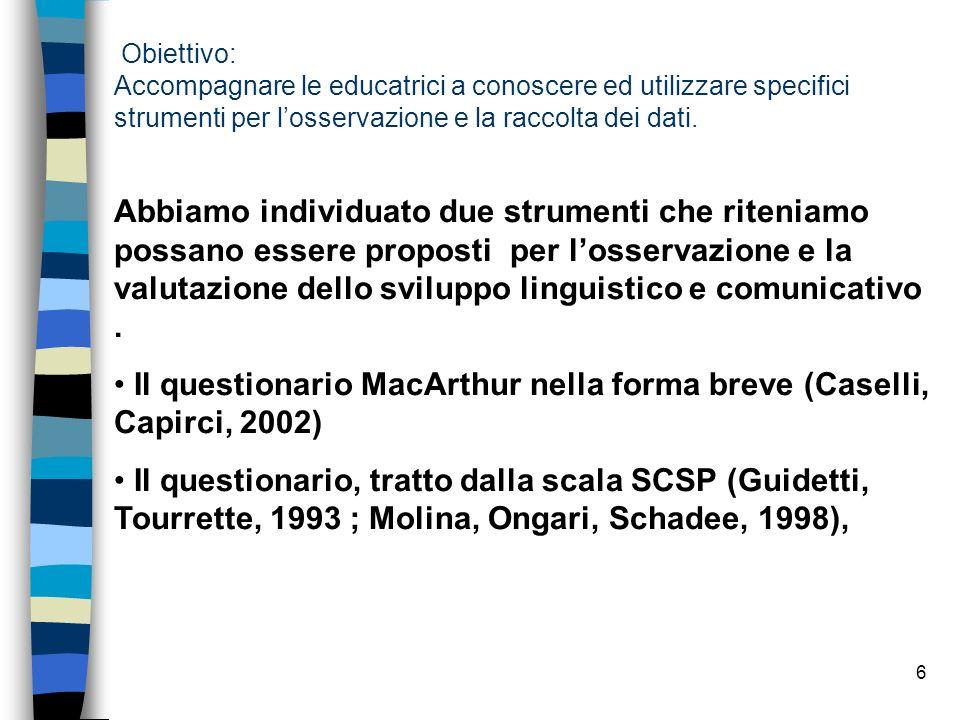 Il questionario MacArthur nella forma breve (Caselli, Capirci, 2002)