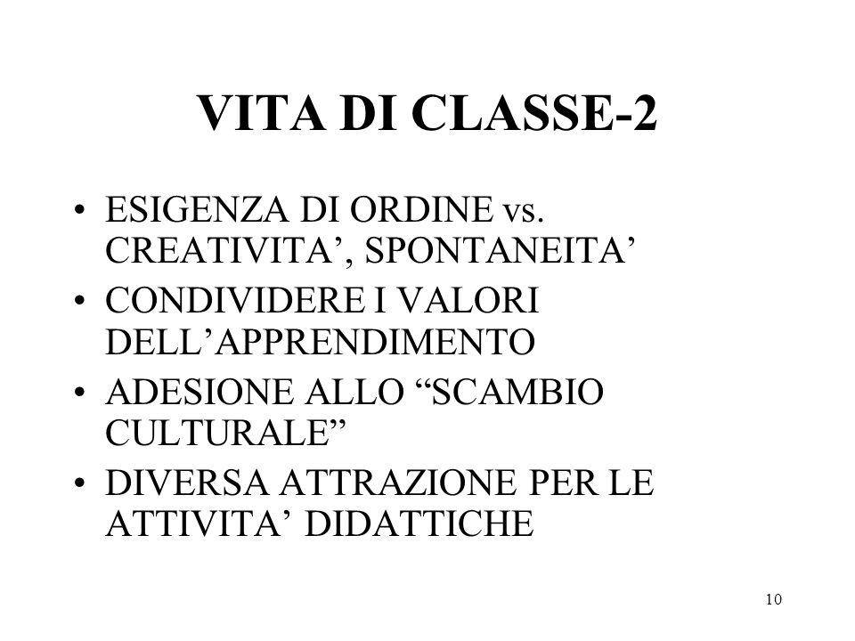 VITA DI CLASSE-2 ESIGENZA DI ORDINE vs. CREATIVITA', SPONTANEITA'