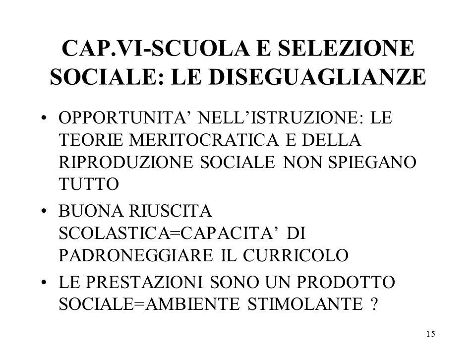 CAP.VI-SCUOLA E SELEZIONE SOCIALE: LE DISEGUAGLIANZE