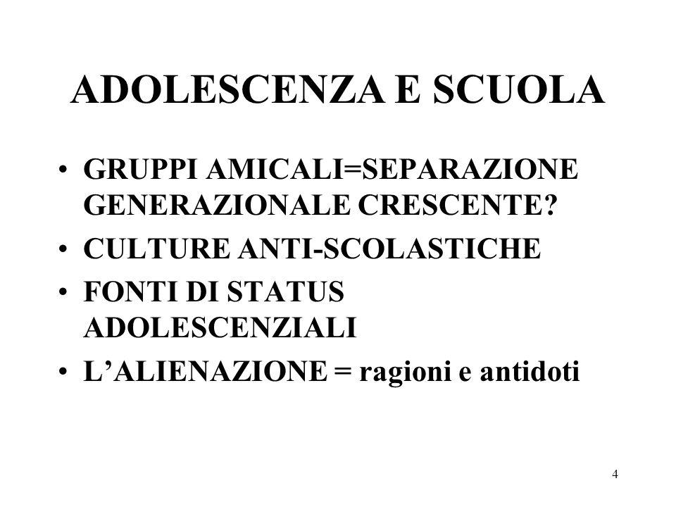 ADOLESCENZA E SCUOLA GRUPPI AMICALI=SEPARAZIONE GENERAZIONALE CRESCENTE CULTURE ANTI-SCOLASTICHE.