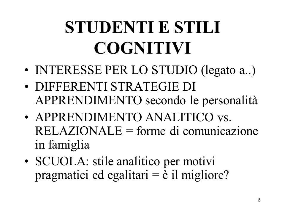 STUDENTI E STILI COGNITIVI
