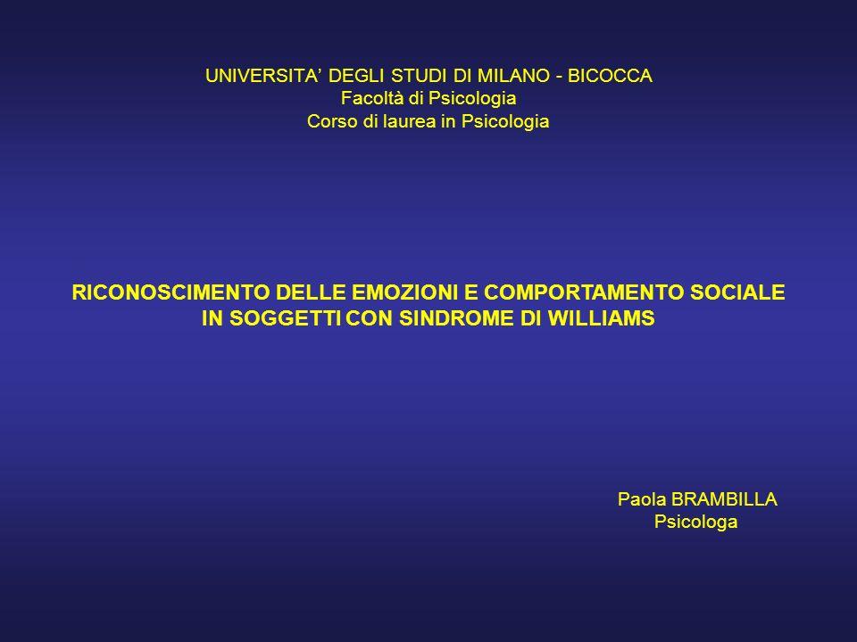 UNIVERSITA' DEGLI STUDI DI MILANO - BICOCCA Facoltà di Psicologia Corso di laurea in Psicologia
