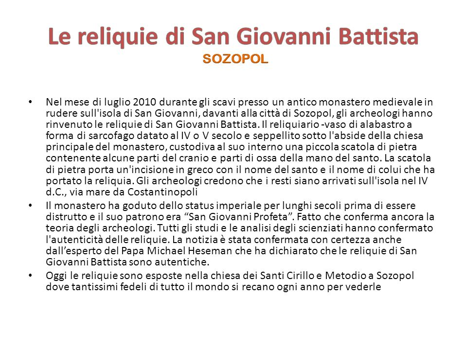 Le reliquie di San Giovanni Battista SOZOPOL
