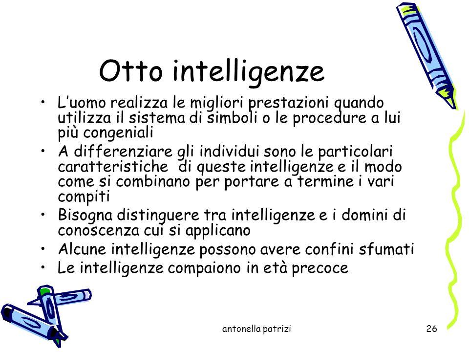 Otto intelligenzeL'uomo realizza le migliori prestazioni quando utilizza il sistema di simboli o le procedure a lui più congeniali.