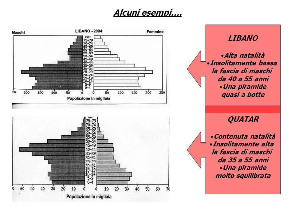 Alcuni esempi…. LIBANO QUATAR Alta natalità Insolitamente bassa