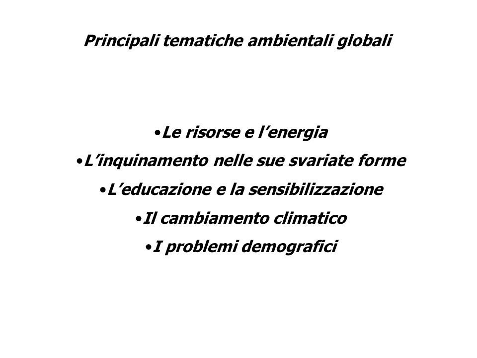 Principali tematiche ambientali globali