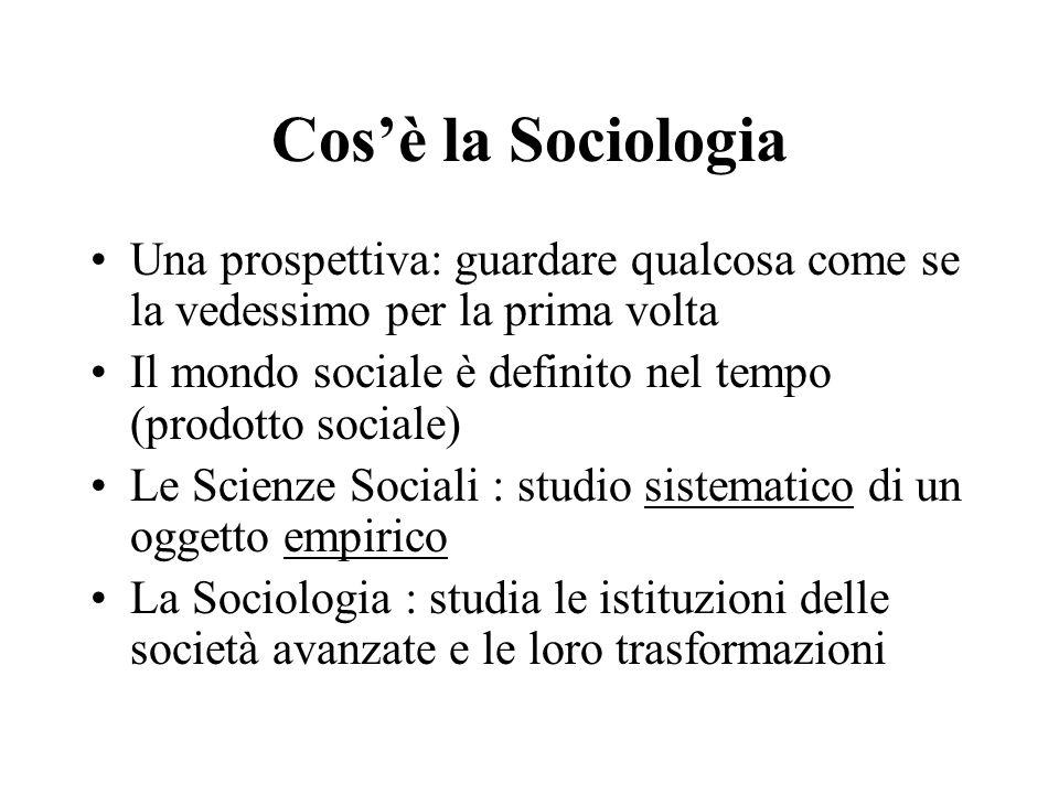 Cos'è la Sociologia Una prospettiva: guardare qualcosa come se la vedessimo per la prima volta.