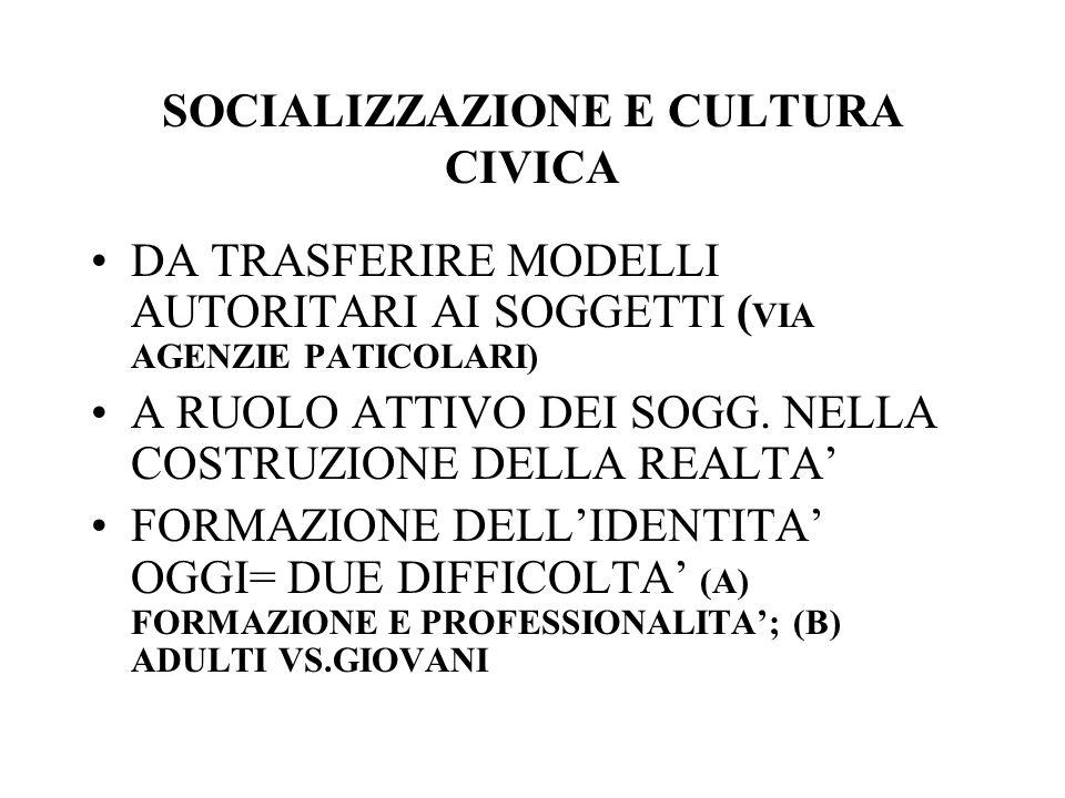 SOCIALIZZAZIONE E CULTURA CIVICA