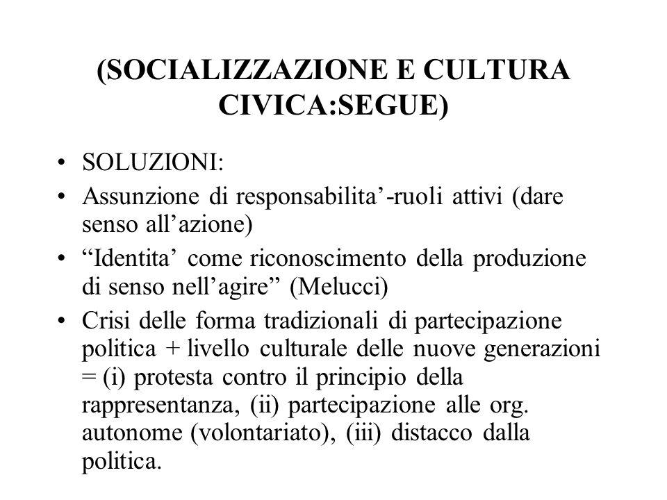 (SOCIALIZZAZIONE E CULTURA CIVICA:SEGUE)